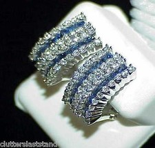 18K 2.00Ct Princess Sapphire 1.48Ct Diamond Half Hoop Earrings New w/Tag... - $3,366.00