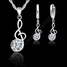 JEXXI 925 Sterling Silver Necklace / Pendant & Earring Music Note Theme - $10.99