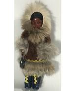 "Vintage Native American Indian Eskimo, Plastic Doll, Leather Dress 6"" Gift - $35.74"