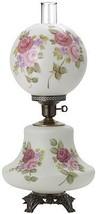 "Hurricane Lamp White Satin Burgundy Pink Roses 26""H - $419.99"