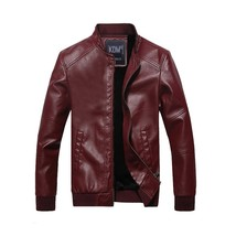 Men's Autumn and Winter Plus Cashmere Leather Jacket Europe and The Unit... - $51.00