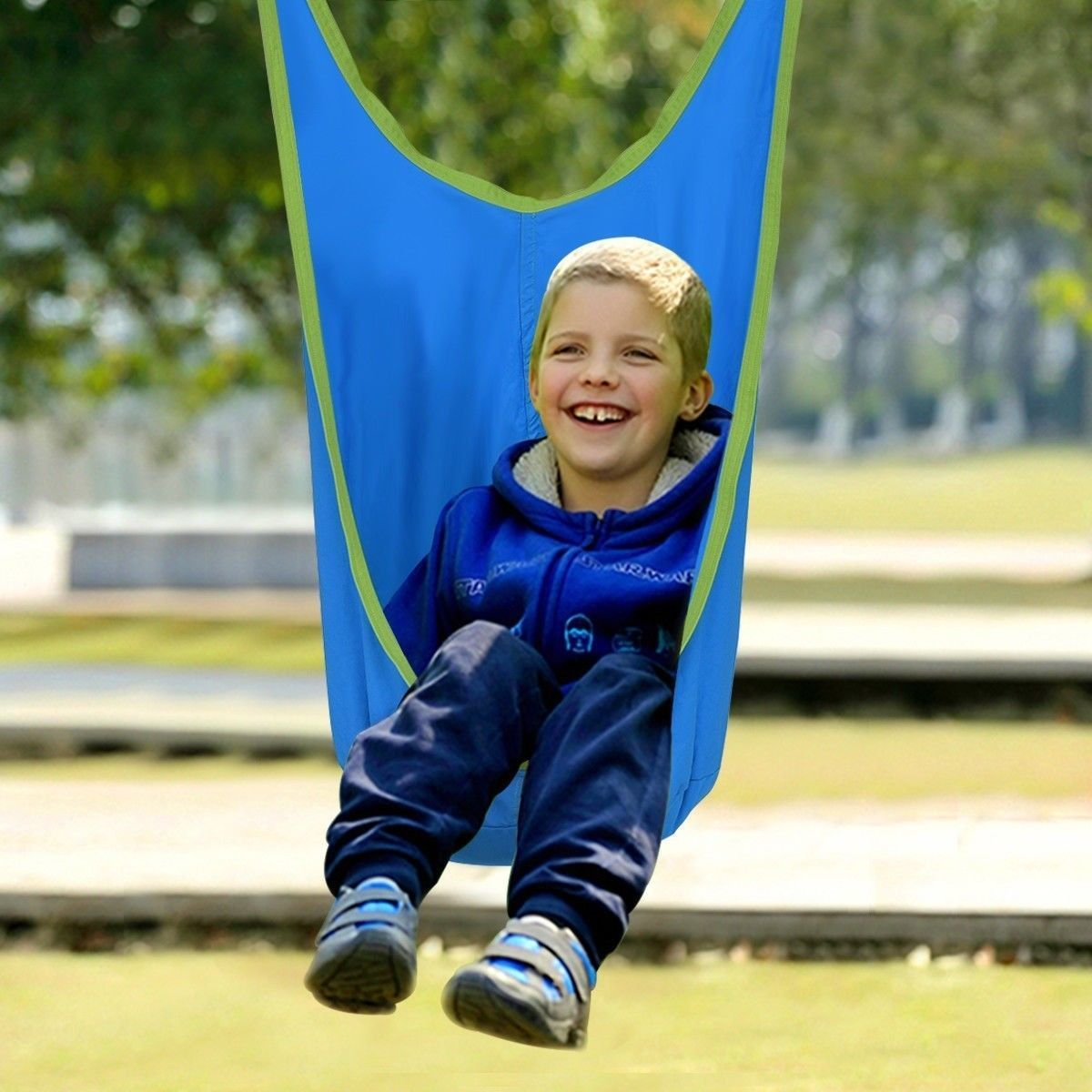 Hanging Seat For Kids Outdoor Swing Pod Children Hammock Chair With Straps Blue