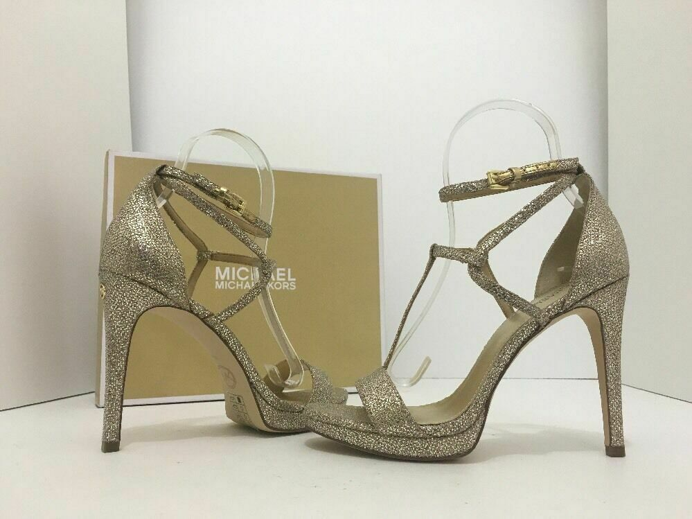 Primary image for Michael Kors Simone Women's Evening High Heels Sandals Silver Sand Glitter 7 M