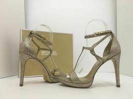 Michael Kors Simone Women's Evening High Heels Sandals Silver Sand Glitter 7 M image 1