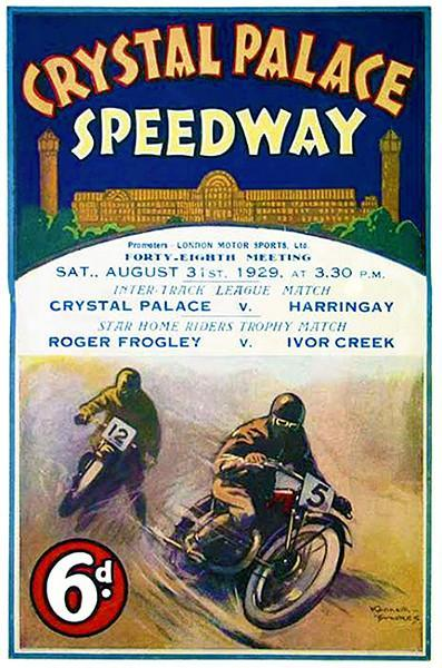 Primary image for 1929 Crystal Palace Motorcycle Races - London - Program Cover Poster