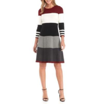 NWT JESSICA HOWARD COLOR BLOCK KNIT FLARE DRESS SIZE L $88 - €24,53 EUR