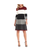 NWT JESSICA HOWARD COLOR BLOCK KNIT FLARE DRESS SIZE L $88 - $27.07