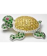 Turtle Brooch 18k White Gold Yellow 5.70 ct Sapphire Tsavorite Garnet Di... - $2,395.00