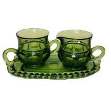 Vintage Green 1960 Indiana Kings Crown Thumbprint Creamer Sugar & Underp... - $18.80