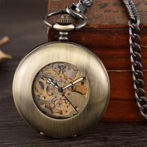 Antique Smooth Mechanical Pocket Watch Fob chain Arabic Numerals Vintage... - $69.49+