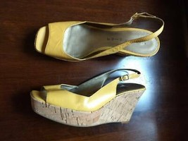 Marc Fisher Womens Platforms Sandals Yellow Wedges Leather Open Toe Shoes US 8.5 - $24.74