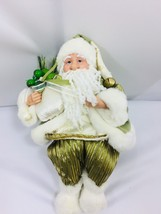 Vintage Santa Claus Father Christmas Sage Green Shelf Sitter 25975 - $29.69