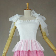 Women Tutu Top Sleeveless Pink White Party Top Tulle Topper Princess Tutu Outfit image 8
