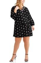 Terra & Sky Women's Plus Woven Lace Up Peasant Dress Size 1X 16-18 Black - $20.78
