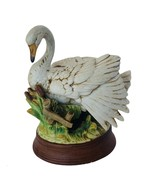 Swan Sculpture Figurine Goose Geese Bird ceramic vtg statue gift decor antique - $67.68
