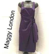 MAGGY LONDON Satin Sheath Cascade Dress 8 formal wear holiday party - $59.00