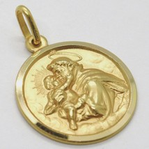 18K YELLOW GOLD ST SAINT ANTHONY PADUA SANT ANTONIO MEDAL MADE IN ITALY, 19 MM image 2