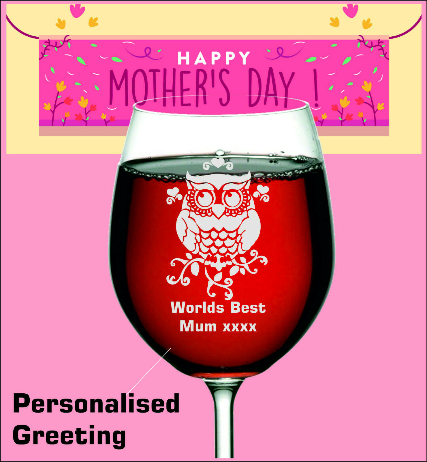 Primary image for Owl engraved onto wine glass for MOTHERS day, Birthday GIFT. Personalised name