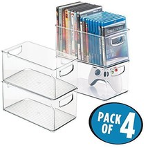 mDesign Stackable Household Storage Organizer Container Bin for DVDs PS4... - $54.24 CAD