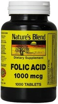 Nature's Blend Folic Acid 1000 mcg 1,000 mcg 1000 Tabs