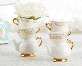Tea Time Whimsy Ceramic Bud Vase Party Decorations Centerpiece - £9.91 GBP