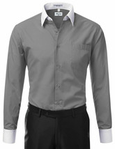 Berlioni Italy Men's White Collar & Cuffs Two Tone Charcoal Dress Shirt XL image 2