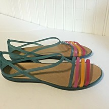 Crocs Womens Sz 8 Multicolor Sandals Shoes Blue Pink Orange Rainbow - $37.11