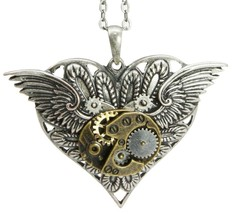 Steampunk Time Gearwork Angelic Wings Heart Necklace Alloy Pendant Jewelry - $17.99