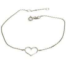 Armband Weißgold 18k 750, Herz Zentrale Perforiert, Länge 16-18 Cm - $127.27