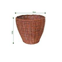 PANDA SUPERSTORE Rattan Woven Ware Car Trash Can Mini Garbage Can Desk Organizer