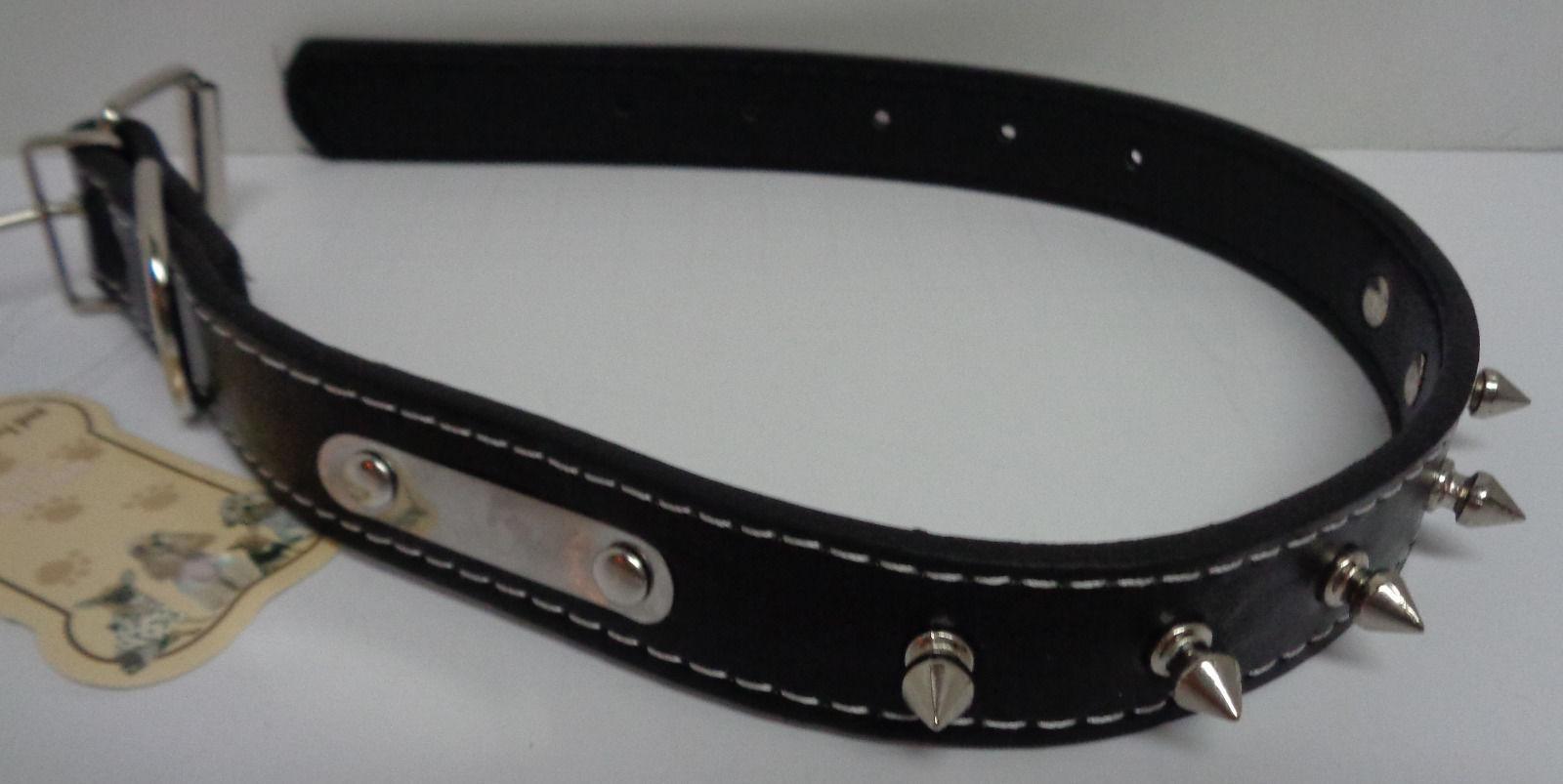 "Dog Collar Medium Breed Spike NWT Adjustable Black 21"""