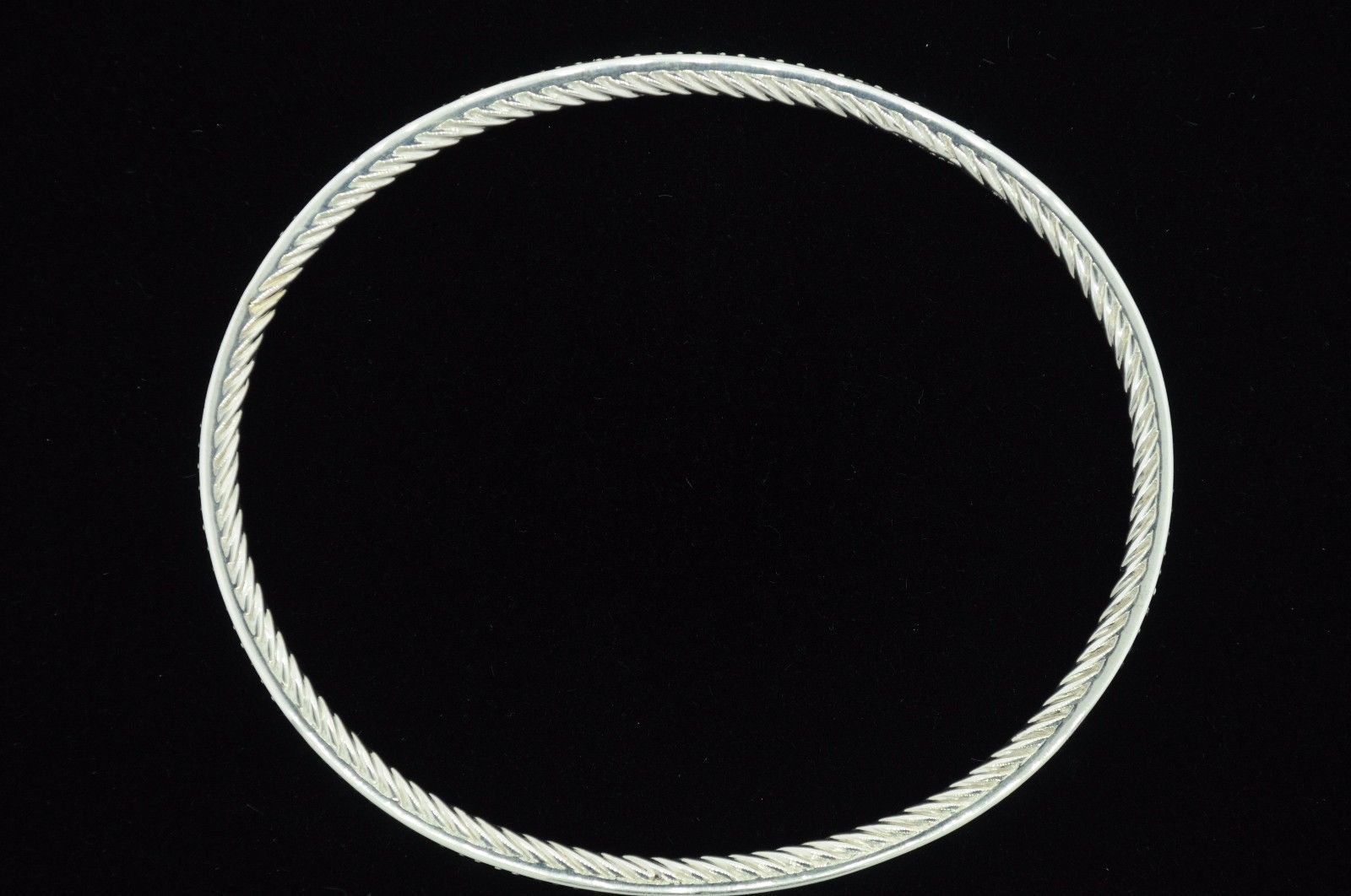 "David Yurman Sterling Silver Diamond Cable Bangle Bracelet (7 1/2"")"