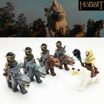 10pcs Lord of the Rings The Hobbit Warg Riders Azog Orcs riding wolf Minifigures - $23.99