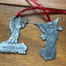 Lot of 2 ELS Signed & Dated Detailed Pewter Angels HOPE & Peace on Earth Christm image 2