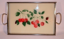 Vintage Mid-Century Serving Tray Glass Top Chro... - $11.88