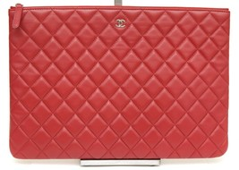 CHANEL Red Lambskin Leather O-Case Pouch Quilted Clutch Rouge Zipper Sil... - $2,090.00