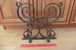 Vntg Wrought iron swirl handmade fence rail table stand part antique ste... - $242.73