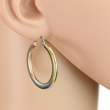Sleek Polished Tri-Color Silver, Gold & Rose Tone Hoop Earrings- United Elegance - $14.99