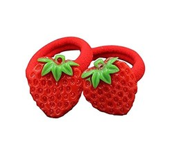 5 pairs Lovely Fruits Design Kid's Hair Rubber Bands Hair Ropes, Strawberry image 2