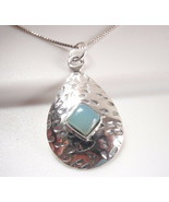 Chalcedony Square on Hammered Teardrop 925 Sterling Silver Pendant Baby ... - €17,23 EUR