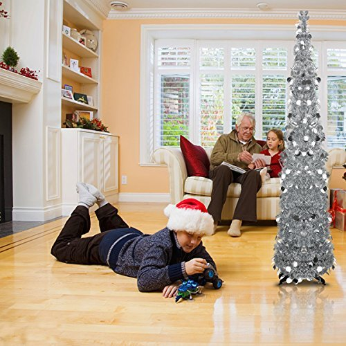 Silver Tinsel Pop Up Christmas Tree: 5 Foot Silver Pop-up Collapsible Tinsel Pencil Christmas