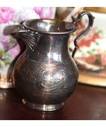 """NICE ANTIQUE VICTORIAN CREAM PITCHER SILVERPLATE 3"""" H  SCROLLS RIBBED NO... - $24.99"""