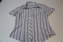 W12273 Womens ANN TAYLOR LOFT white/blue stripe short-sleeve BUTTON SHIR... - $28.97