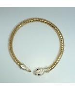 N0073 Gold Colored Rhinestone Animal Snake Design Round Collar Choker Ne... - $11.99
