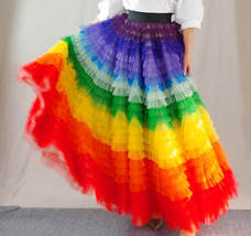 Adult Rainbow Tulle Skirt Long Colorful Rainbow Tutu Rainbow Costume High Waist  image 3