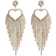New Design Elegant Heart Crystal Earrings Gold Silver Color Long Tassel ... - $10.52