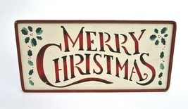 Merry Christmas Rustic Sign 16x8 Plaque Wall Hanging Wreath Decor Door H... - $19.35