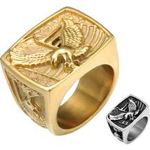 Eagle Ring Gold Silver Motorcycle Hawk Freedom Biker Stainless Steel Siz... - $12.99