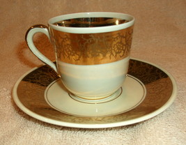 Furstenberg Made In Germany Porcelain Demitasse Cup And Saucer With Gold Design - $43.00