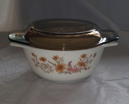 "Vintage Pyrex England 8"" Casserole Dish Country Autumn Flowers on White Dish  - $13.99"